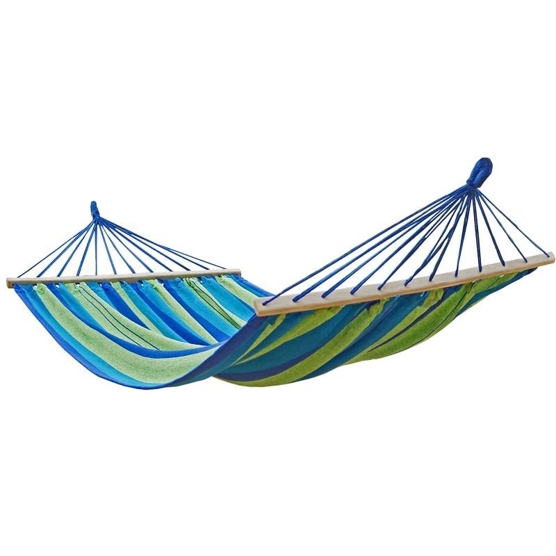 Doppel Stabhängematte blau-grün mit Befestigunsketten