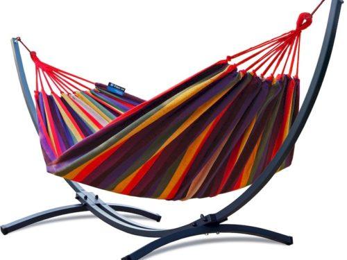 Doppel Hängemattengestell mit Hängematte colorful